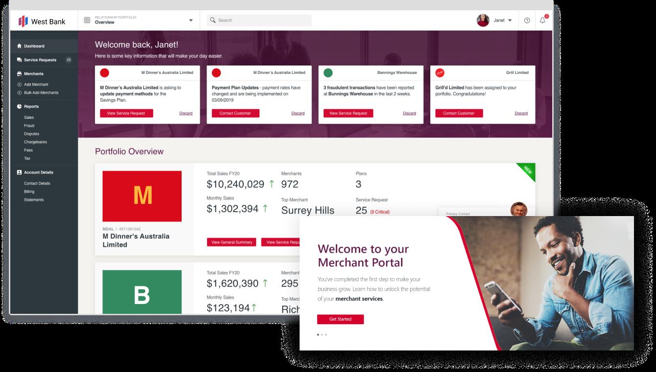 Merchant banking dashboard